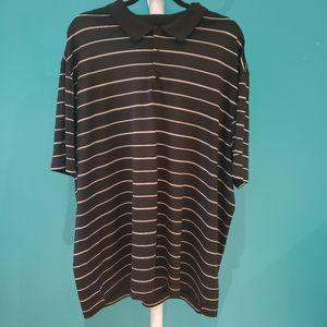 Nike Dri-fit Black White Striped Polo Golf Shirt